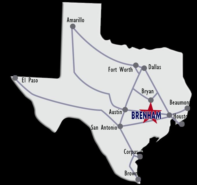 Show A Map Of Texas.Brenham Located In The Texas Triangle Brenham Texas